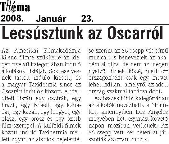 Helyi Thema 23.01. Just out of Oscar