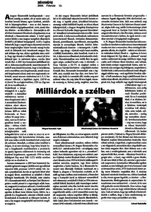 Magyar Nemzet Mûsorújság 12.02. Billions in the wind