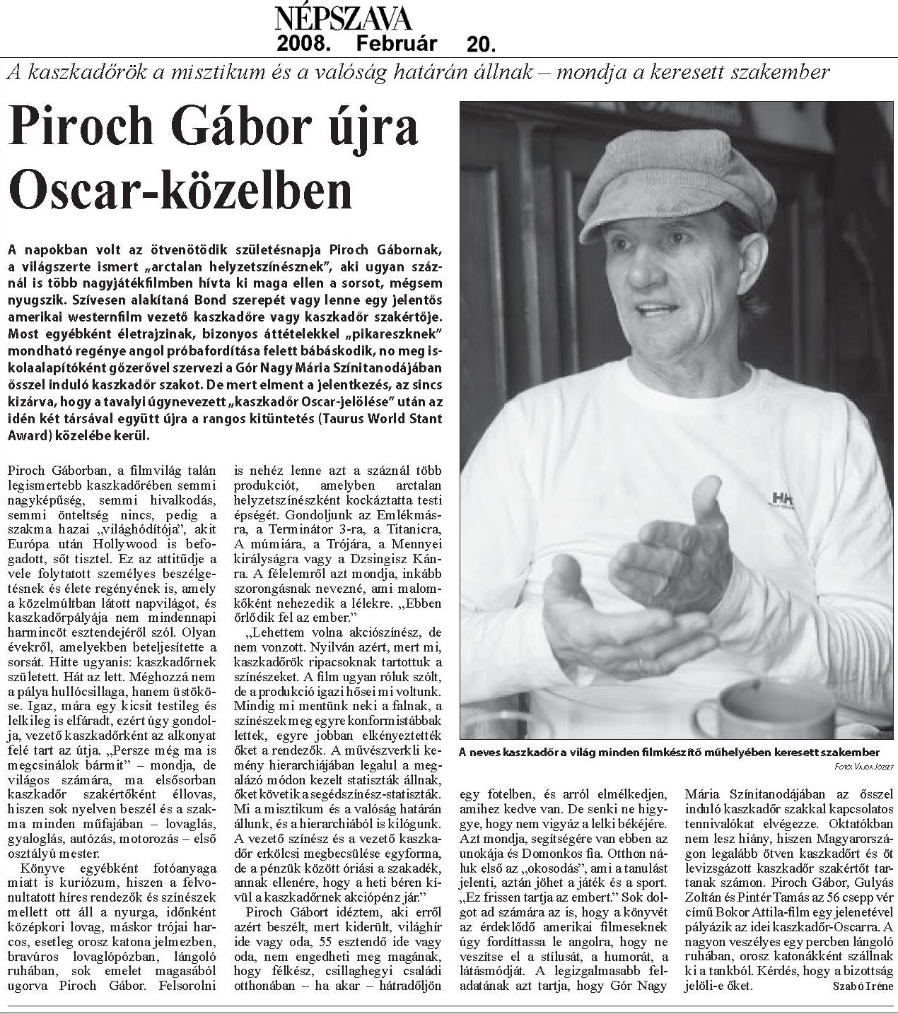 Népszava 02.20. - Piroch Gábor újra Oscar-közelben